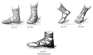 Diversos tipos de calzado griego. Historia del zapato.