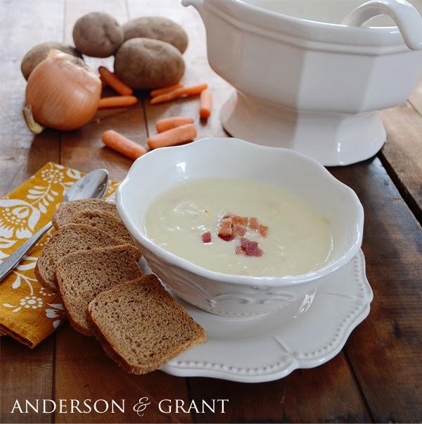 Potato and Corn Chowder...delicious and simple recipe for a warm winter soup | www.andersonandgrant.com