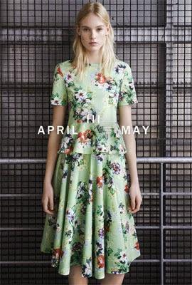 Zara primavera verão top peplum e saia estampada