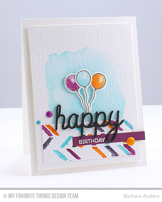 Birthday Balloon Card by Barbara Anders featuring the Top Dog, Amazing, Birdie Brown Birthday Bears stamp set and Die-namics, the Happy Trio Die-namics, and the Scattered Bars stencil #mftstamps