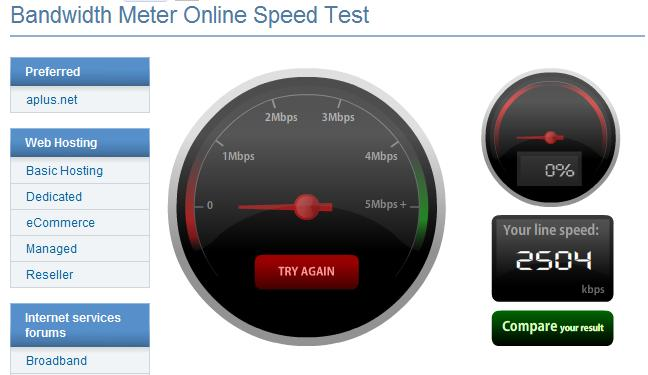 geschwindigkeit test internet