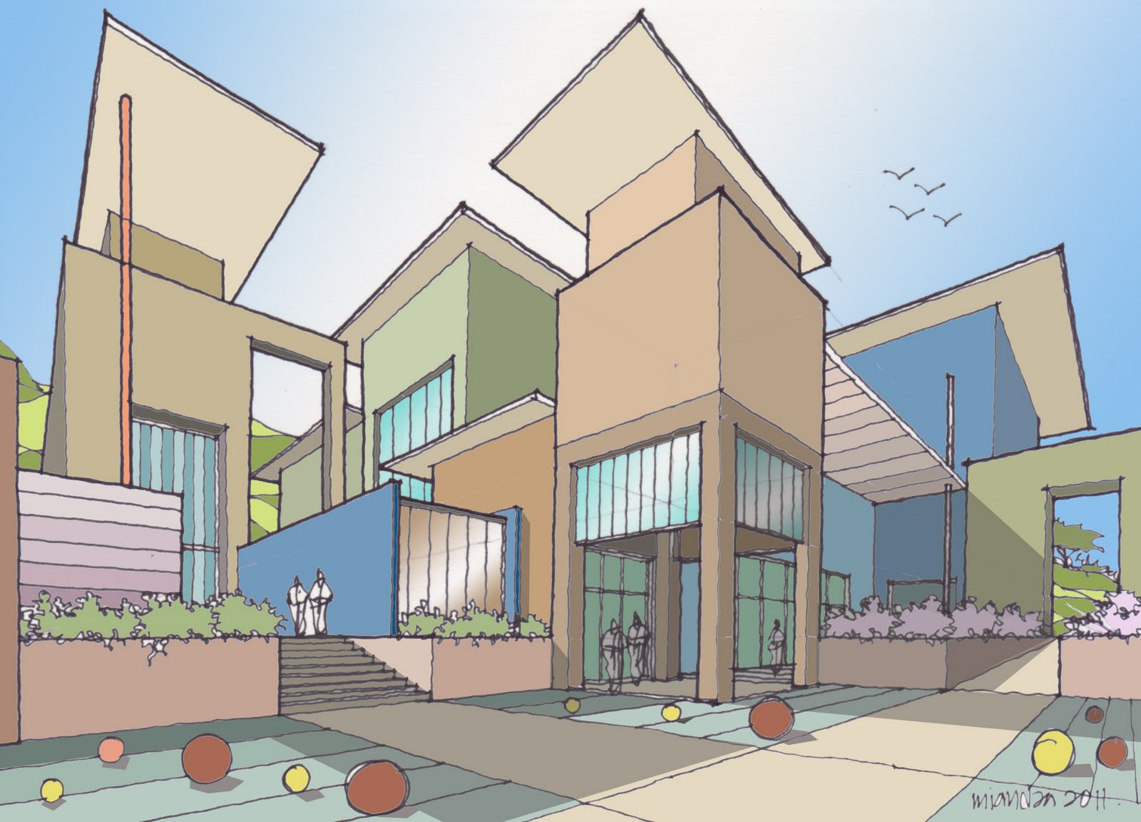 How to draw buildings 100611 two point perspective for Modern house 2 point perspective