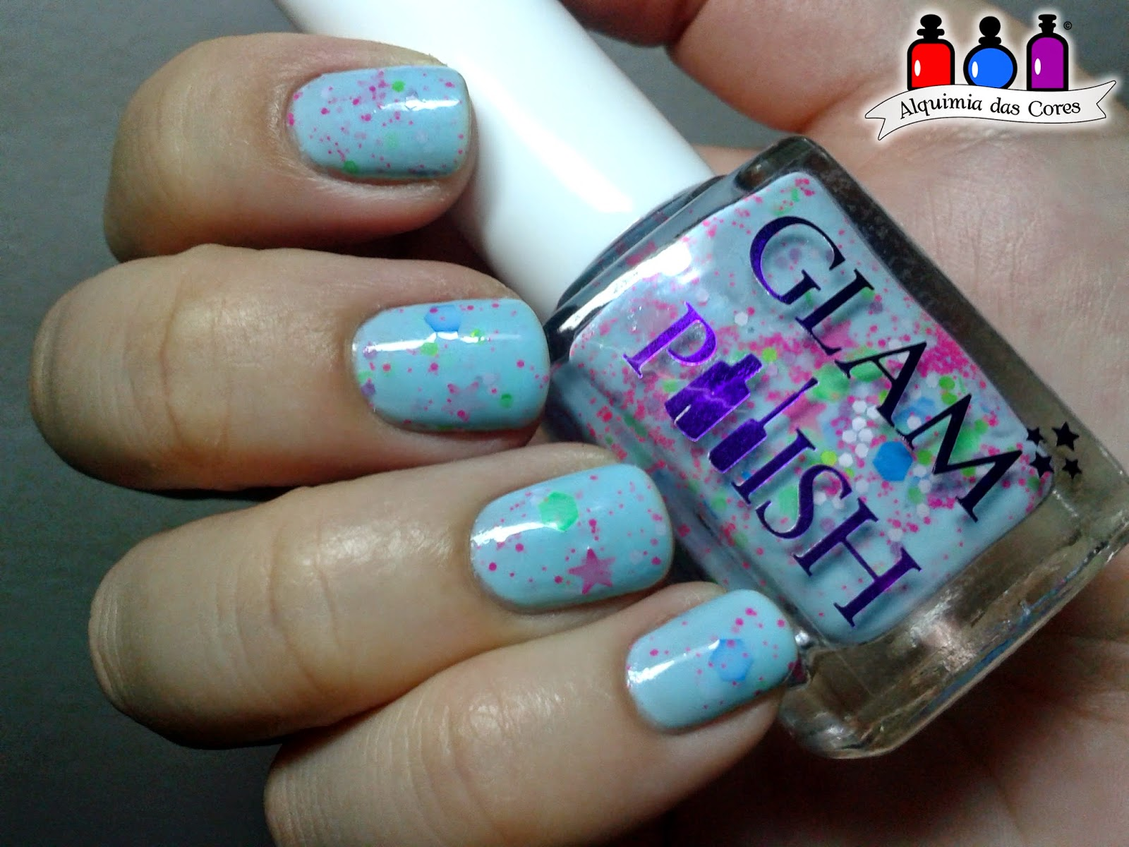 Glam Polish, Azul, Cremoglitter, neon, Glitter, importado, Neon Nubs, caminie, esmalte, nail polish