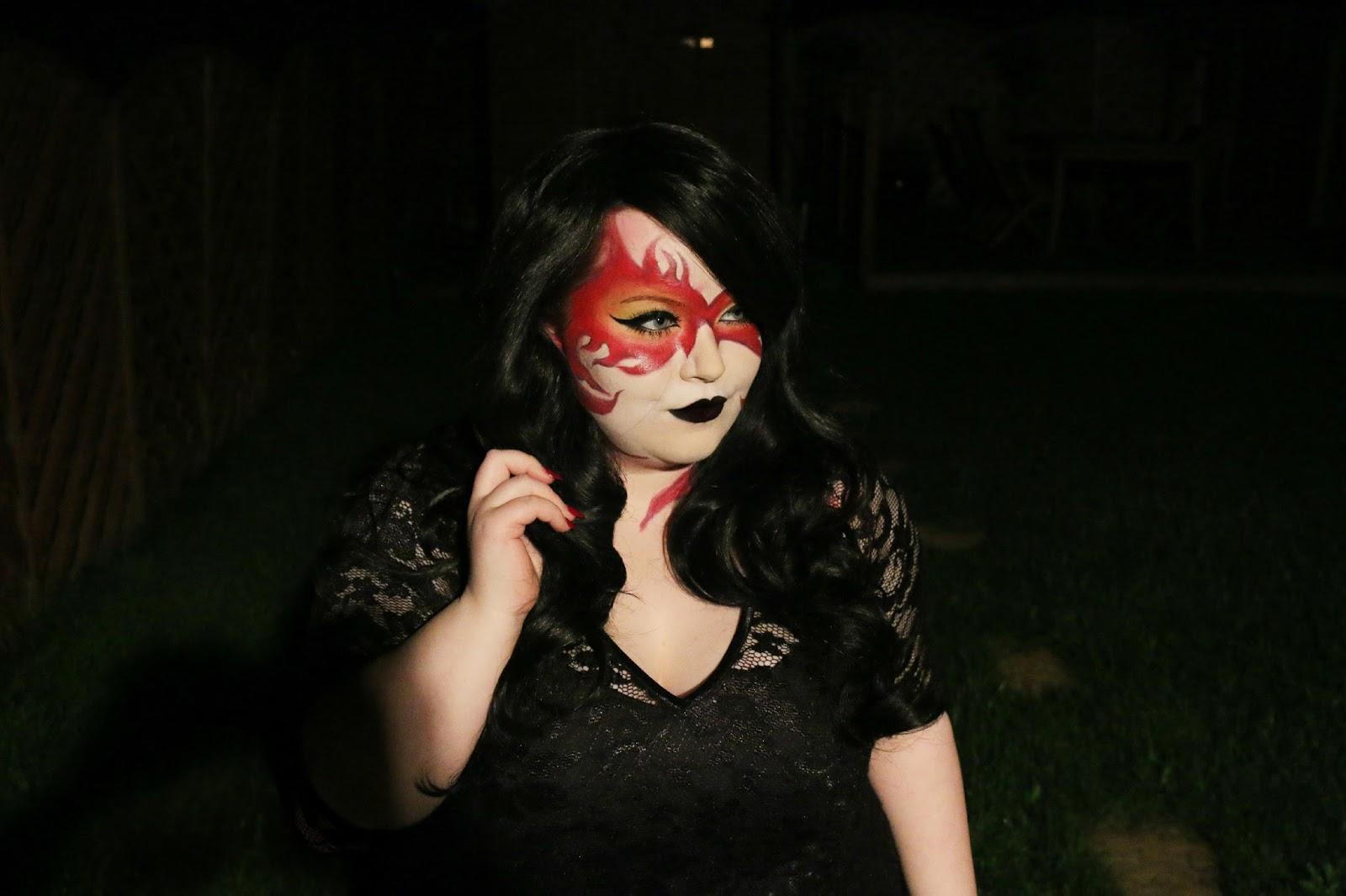 Dark Phoenix Halloween Makeup Look with Scarlett & Jo