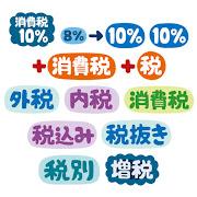 いろいろな消費税10%に関するイラスト文字(POP)