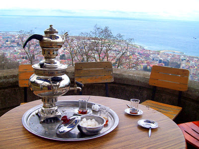 Turkish Tea with the traditional kettles