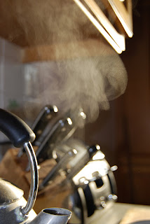 kitchen, kettle, steam, knives