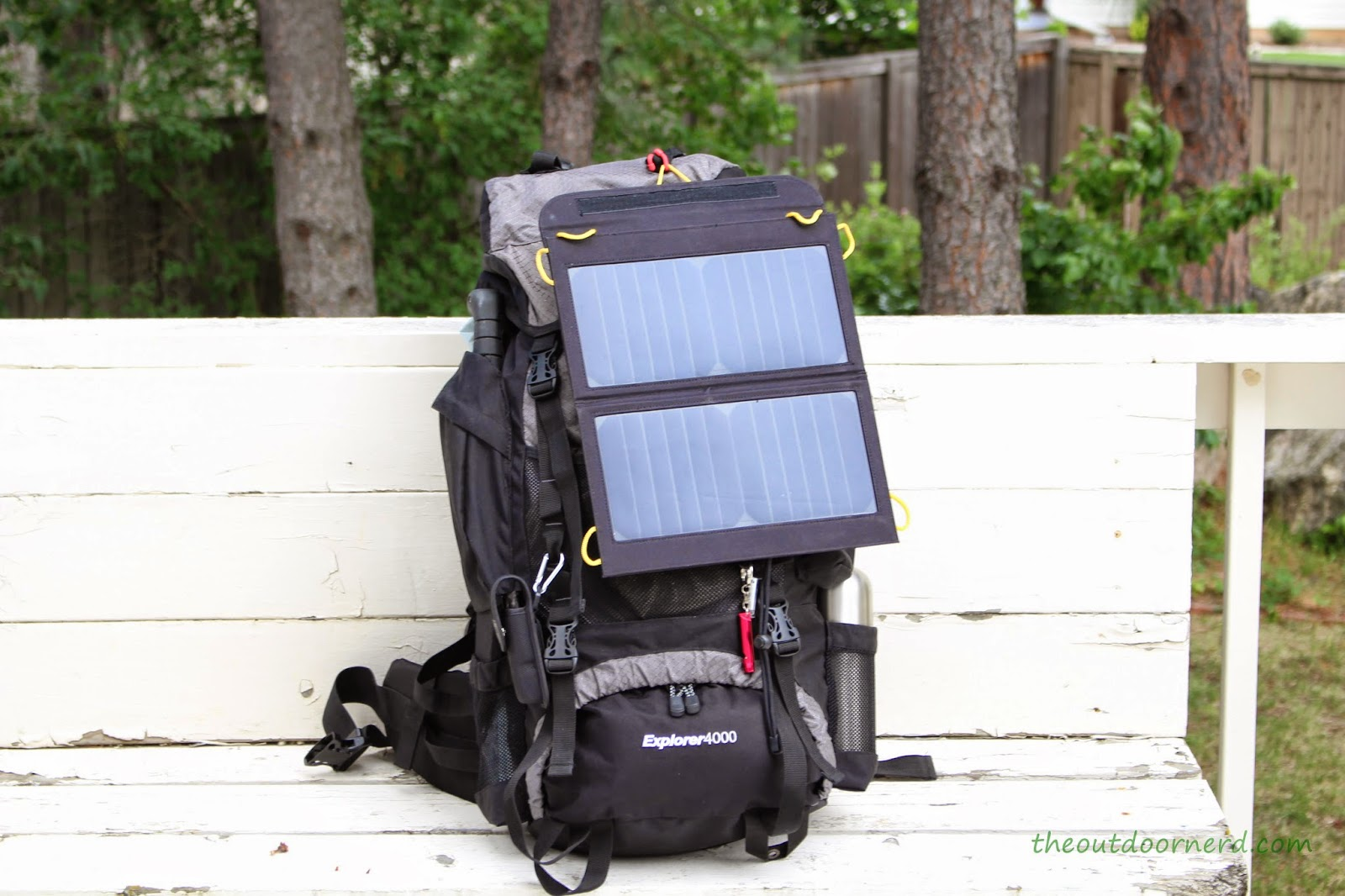 Levin Sol-Wing 13W Solar USB Charger: Attached to Teton Explorer 4000 Backpack