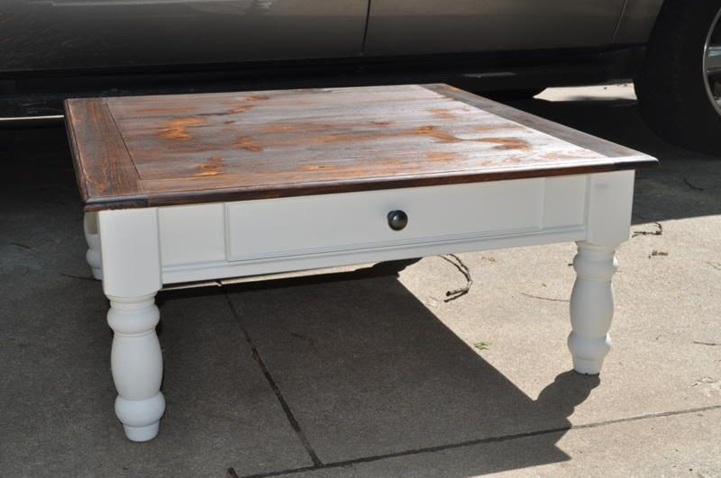 The Painted Paisley Coffee Table White Stained Top