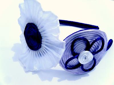 Diadema combinada con dos tipos de diseño azul y morado
