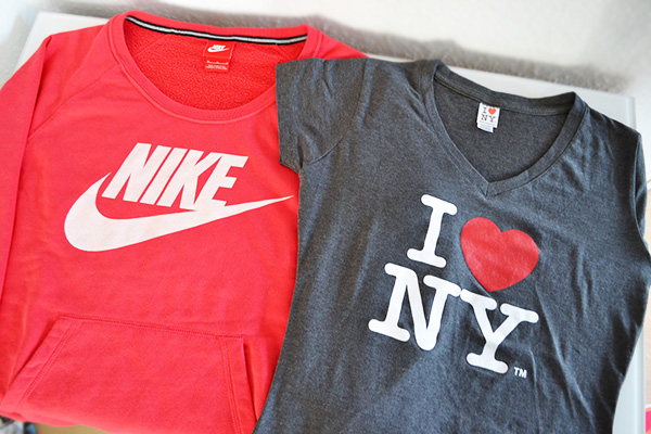 Nike Pullover rot orange I love NY Shirt grau Damen