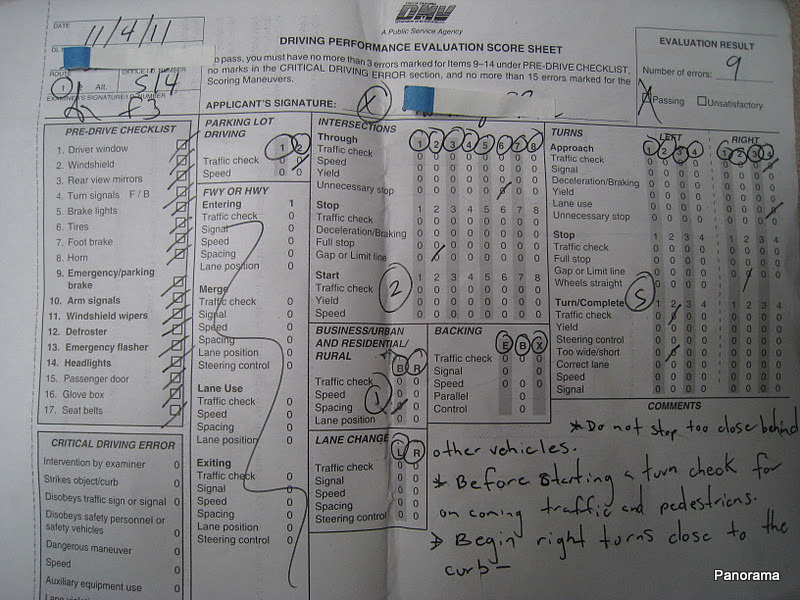 Ohio Driving Test Score Sheet >> Driving Performance Evaluation Score Sheet Pictures to Pin on Pinterest - ThePinsta