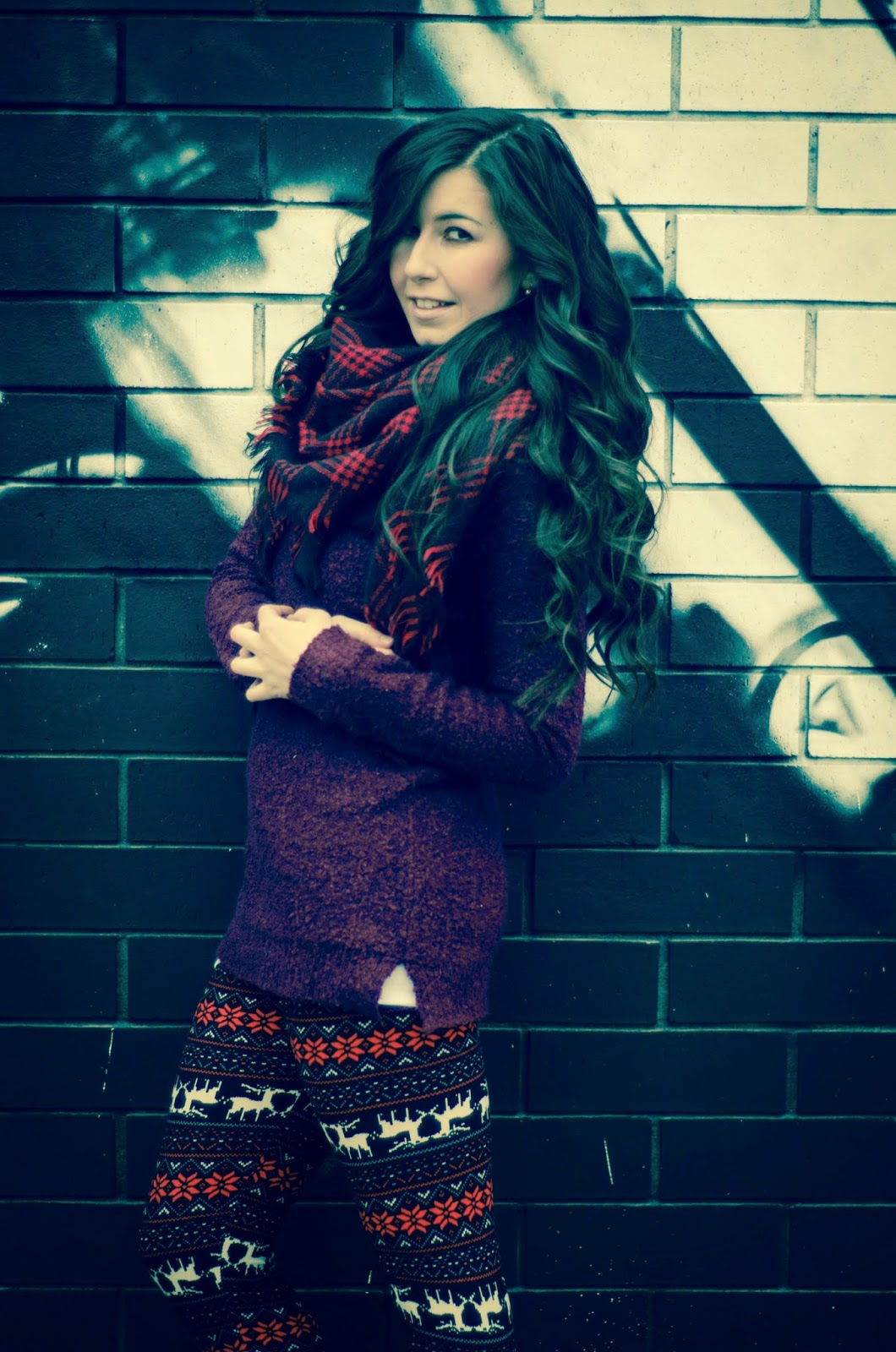 ankle booties, aztec leggings, brown cut out booties, burgundy sweater, chunky burgundy sweater, fair isle leggings, fleece leggings, fleece lined leggings, blanket scarf, plaid blanket scarf, how to be cozy for winter and fall weather, how to wear fleece leggings, what to wear with fleece leggings,