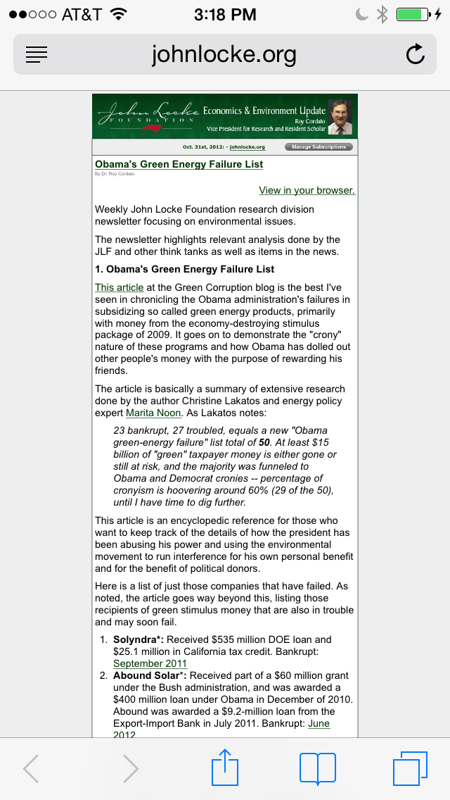 October 31, 2012: We made it on John Locke Foundation research division newsletter