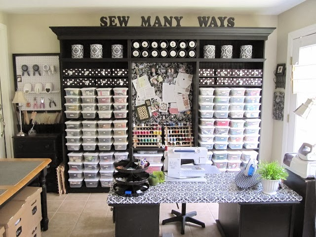 Sew many ways sewing and craft room ideas and updates - Small space sewing area style ...