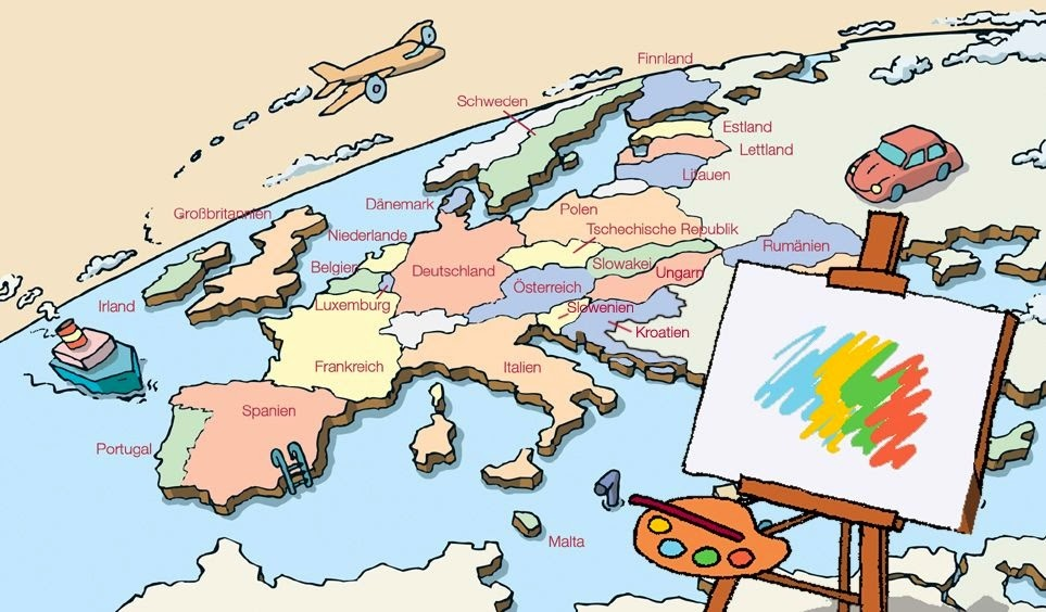 POSCONBLOG Kids Paint Europe Participatory Project For The - Map of europe for children