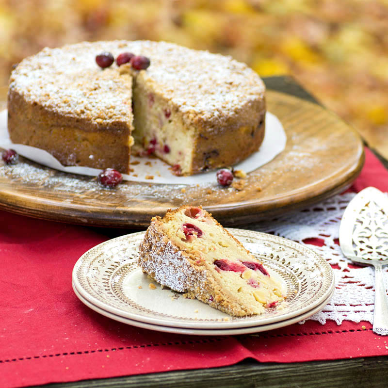 Apple-Cranberry Almond Streusel Cake