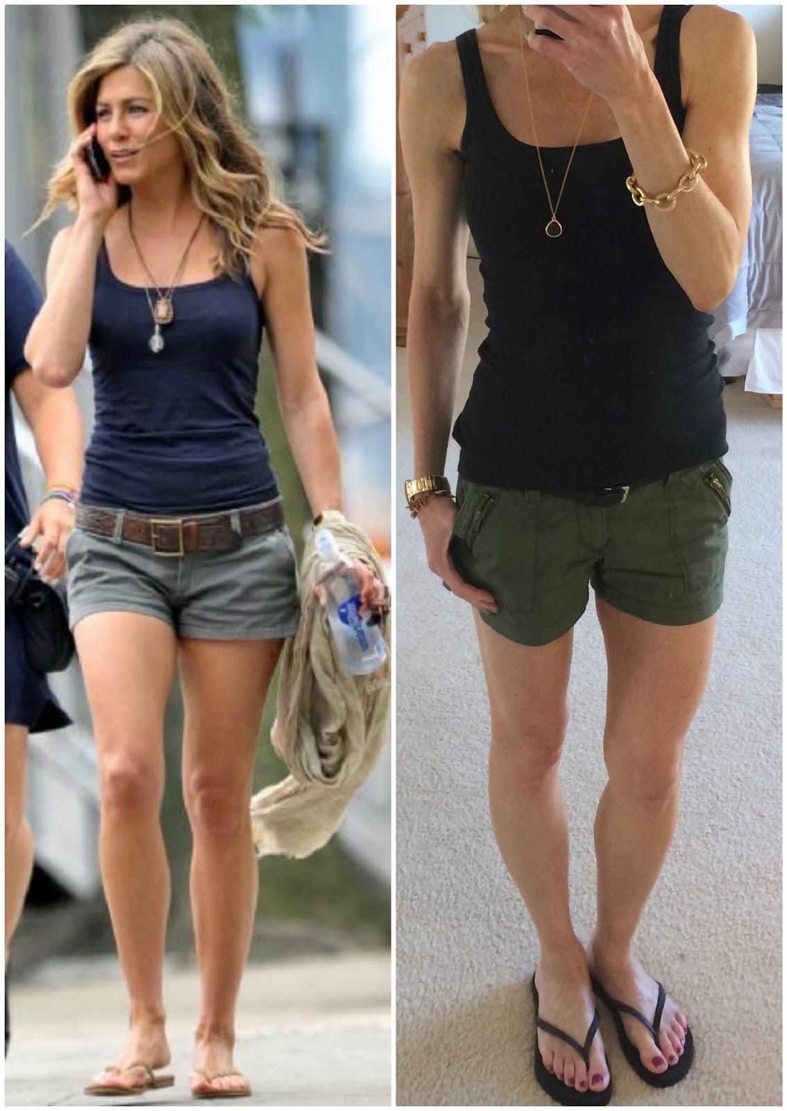 Jennifer Aniston copycat outfit, duplicate, black tank top, olive shorts