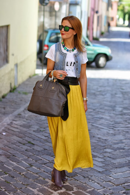 Celine t-shirt, Persunmall vest, Zara yellow maxi skirt, Givenchy Nightingale, Fashion and Cookies, fashion blogger