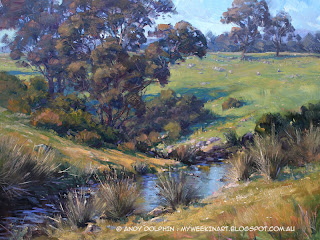 Creek. Plein air landscape painting in oil by Andy Dolphin