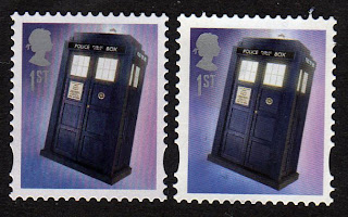 Two different Tardis stamps.