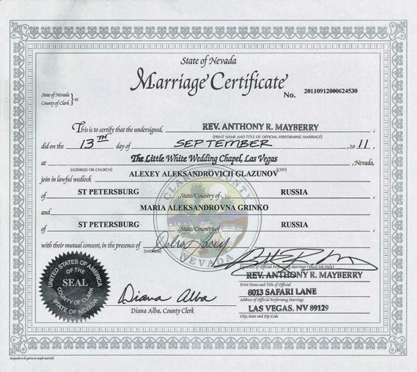 Marriage Records - Clark County, Nevada