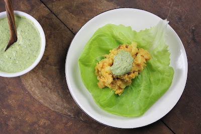 butter lettuce filled with potato dosa filling and coconut chutney