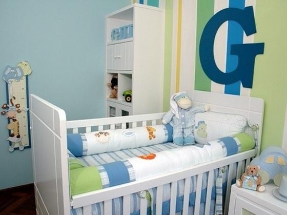 Quarto de Bebê Masculino Verde, Azul e Branco  Toda Atual