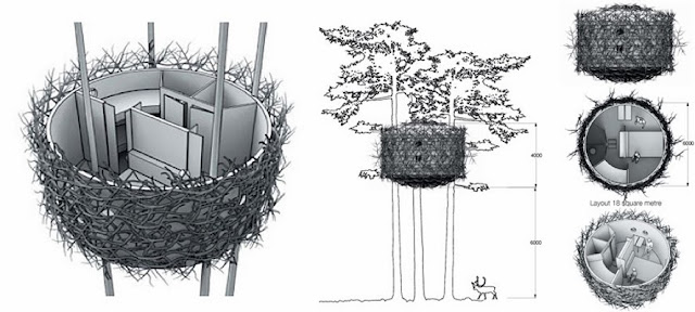 The Bird Nest, esquema de la arquitectura