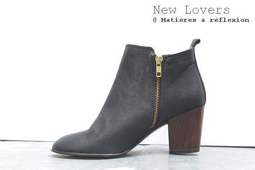Low boots cuir bleu marine New lovers