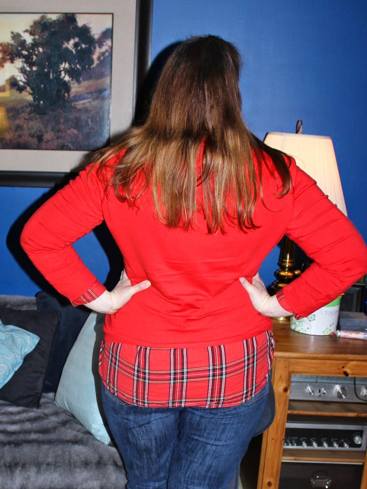 red cardigan, plaid button down, boyfriend jeans