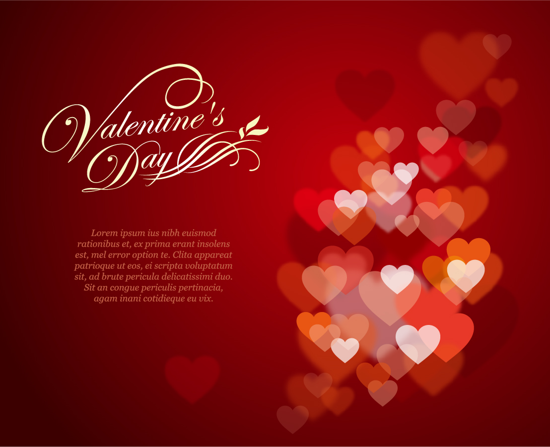 ハート型の淡い光が美しいバレンタインデーの背景 Valentine's Day Background イラスト素材