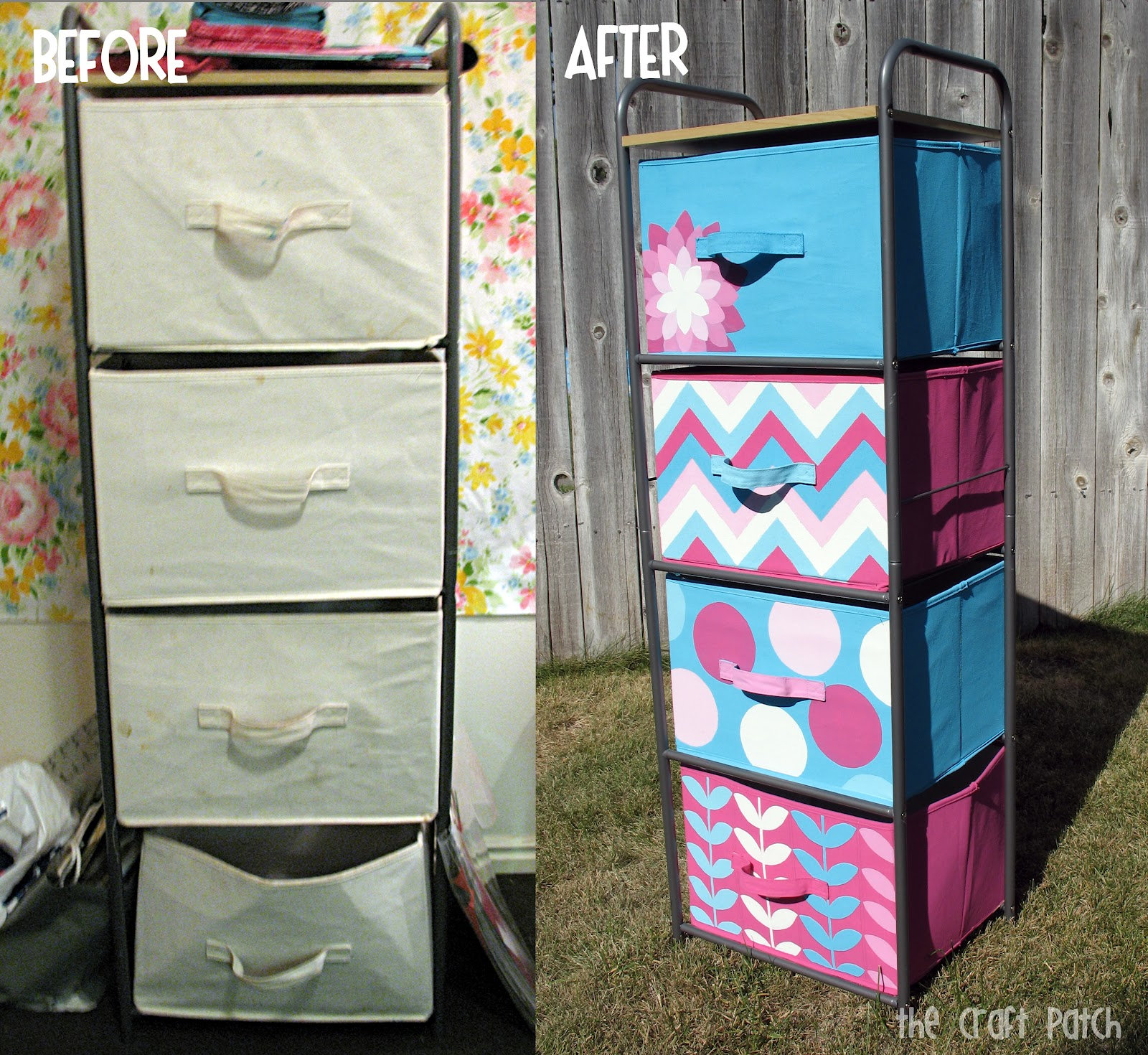 the craft patch painted canvas bins. Black Bedroom Furniture Sets. Home Design Ideas