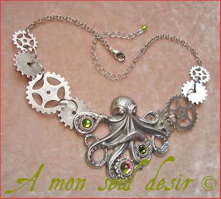 collier pieuvre poulpe kraken rouages steampunk octopus gears necklace