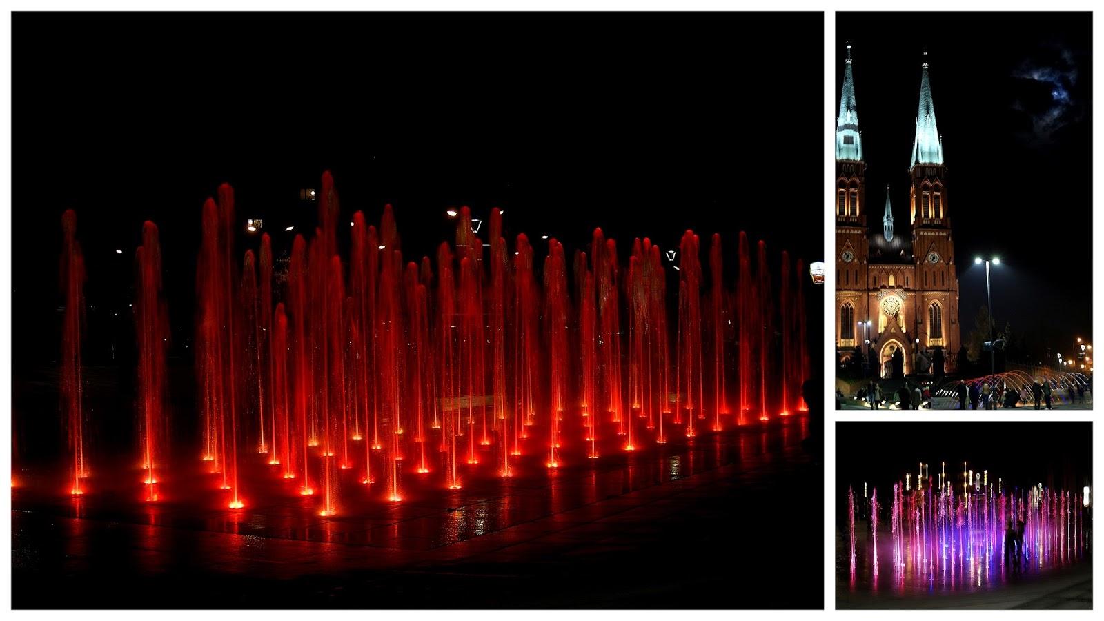 Nowa Fontanna pod Bazyliką w Rybniku - wieczorny pokaz