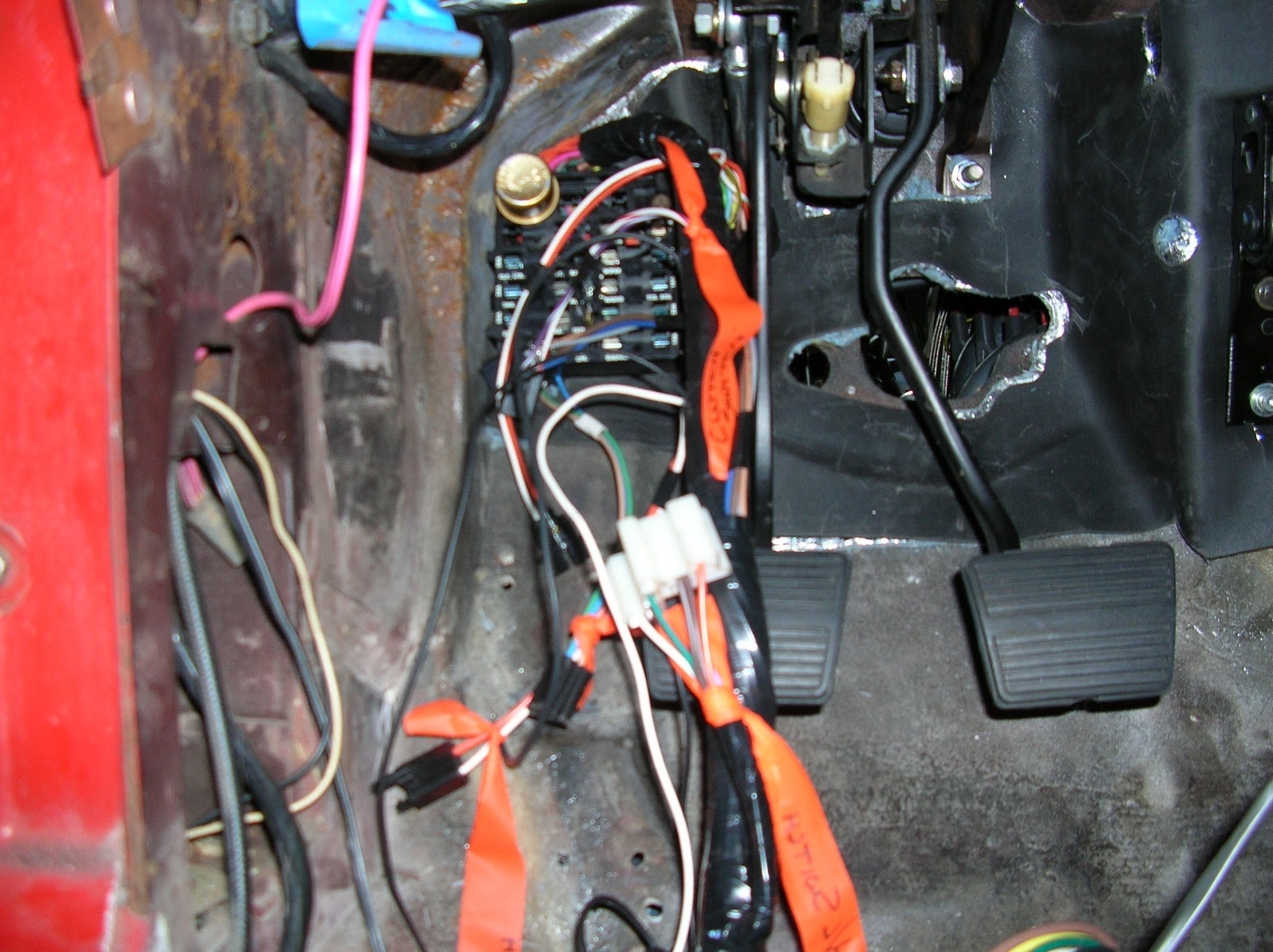 2012 the dash harness connects to the fuse box and connects through the firewall to the