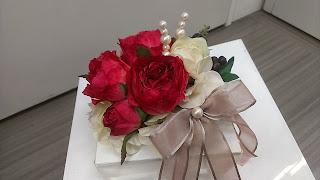 赤いバラのリングピロー