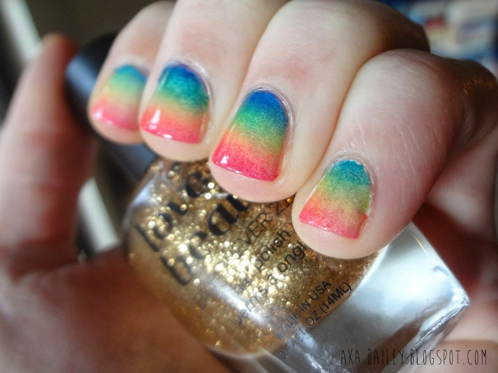 Sponged gradient rainbow nail polish