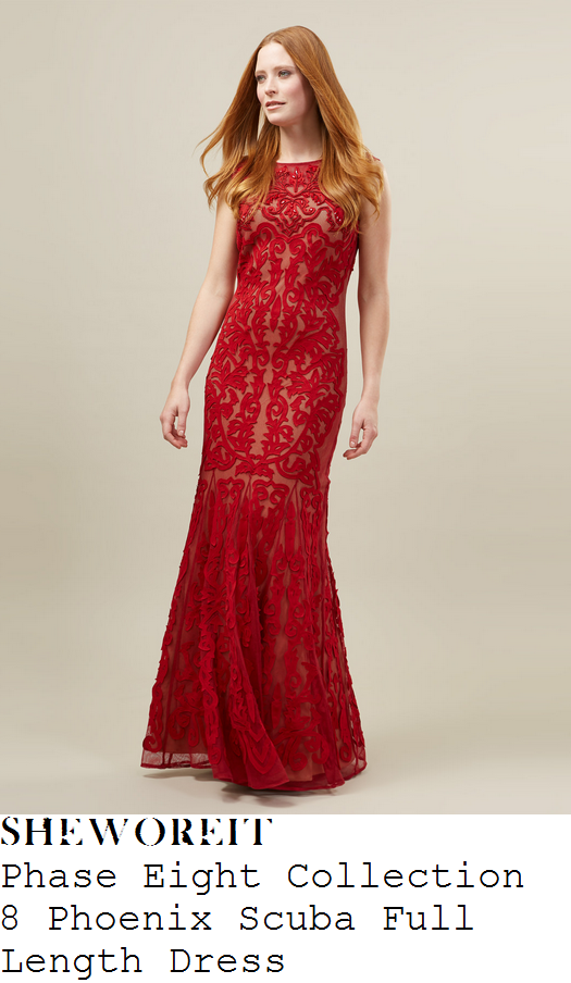 charlotte-hawkins-red-embroidered-sleeveless-mesh-fishtail-hem-maxi-dress-national-television-awards