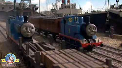 Blue Edward the tank engine and Thomas the train engine at Brendam docks Salty the dockyard diesel