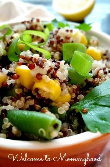 Easy healthy recipes: quinoa and green bean salad {Welcome to Mommyhood} #easyhealthyrecipes, #quinoarecipe, #healthytoddlerrecipes