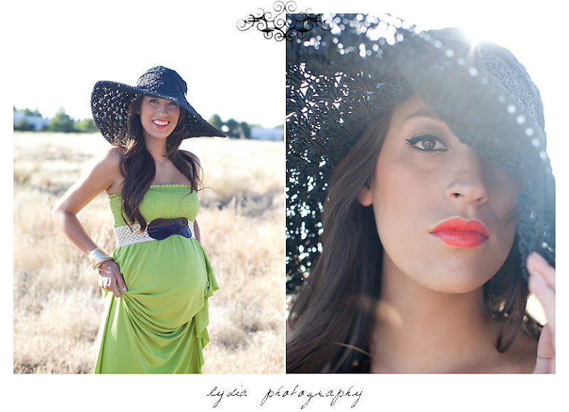Lifestyle maternity portraits with sun hat in field at William Jessup University in Rocklin, California