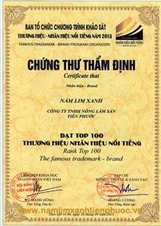 Nấm lim xanh Tiên Phước lọt tốp 100 Thương hiệu, nhãn hiệu nổi tiếng năm 2013