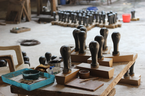rubber stamps being readied for the public art installation