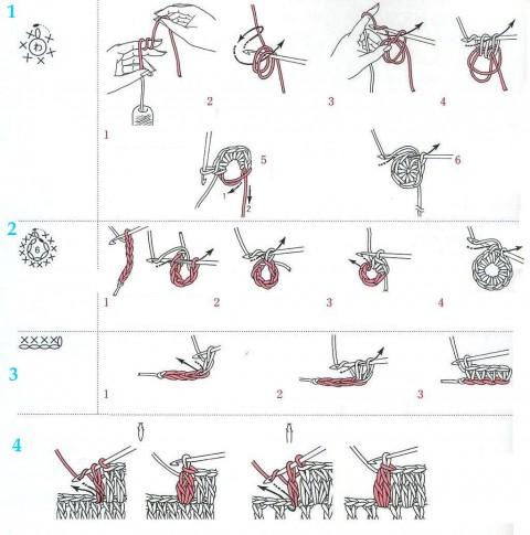Белой пряжей по схеме ниже