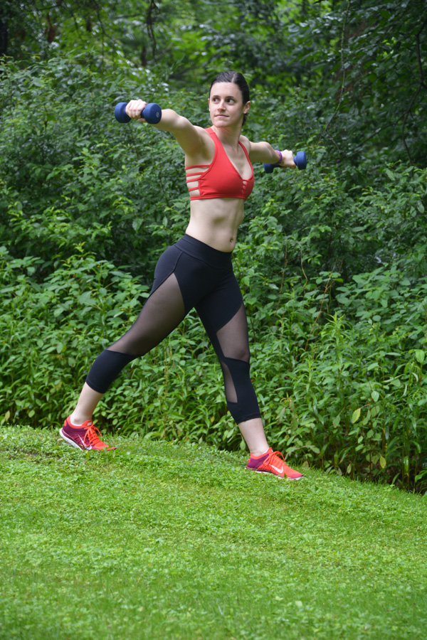 side lateral raise, workout, outdoor workout, easy workout, dumbbells, active wear, up vibe
