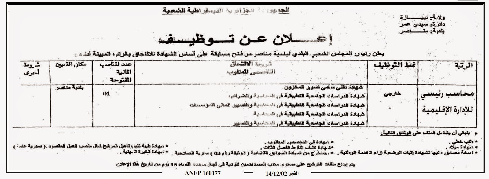 لإعلان توظيف بلدية مناصر ولاية تيبازة