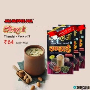 Buy Gopal Ji Thandai 100g Pack of 3 + Rs.2 cashback for Rs.78 at Shopclues : BuyToEarn
