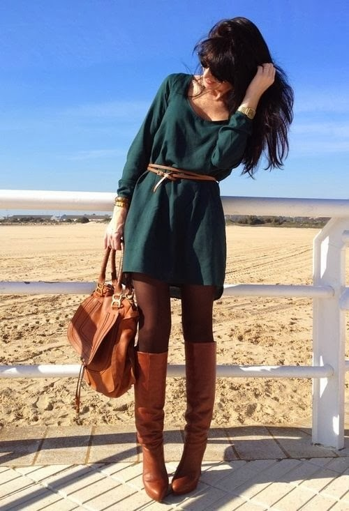 Tall brown boots + dark tights + dress and skinny belt + buttery leather bag on the beach