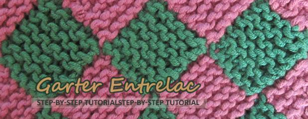 Garter entrelac knitting stitch pattern